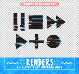 Renders 559 // Glitch Play Buttons Pngs