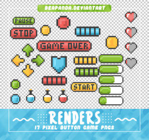 RENDERS // Pixel Button Game Pngs
