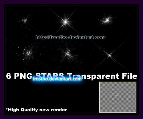 PNG sparkling Stars pack 6 by FrostBo
