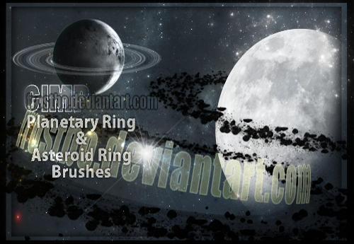 Planetary Ring and Asteroid Ring GIMP Brushes