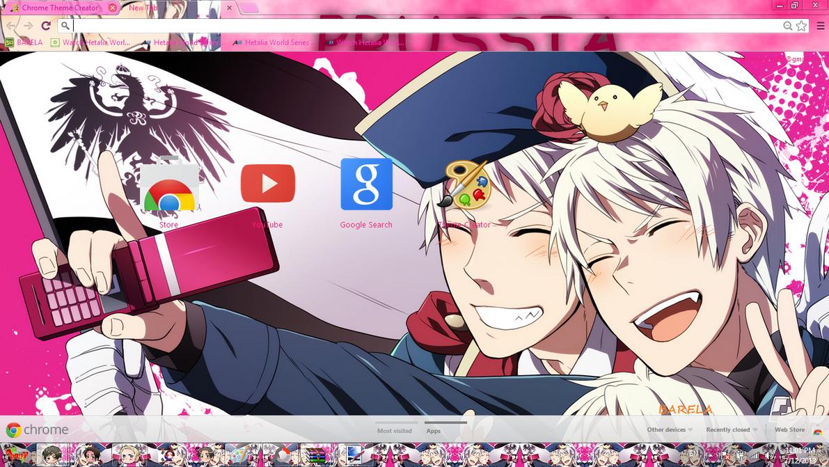 Google chrome themes yaoi - Prussia Hetalia Chrome Theme By Barela