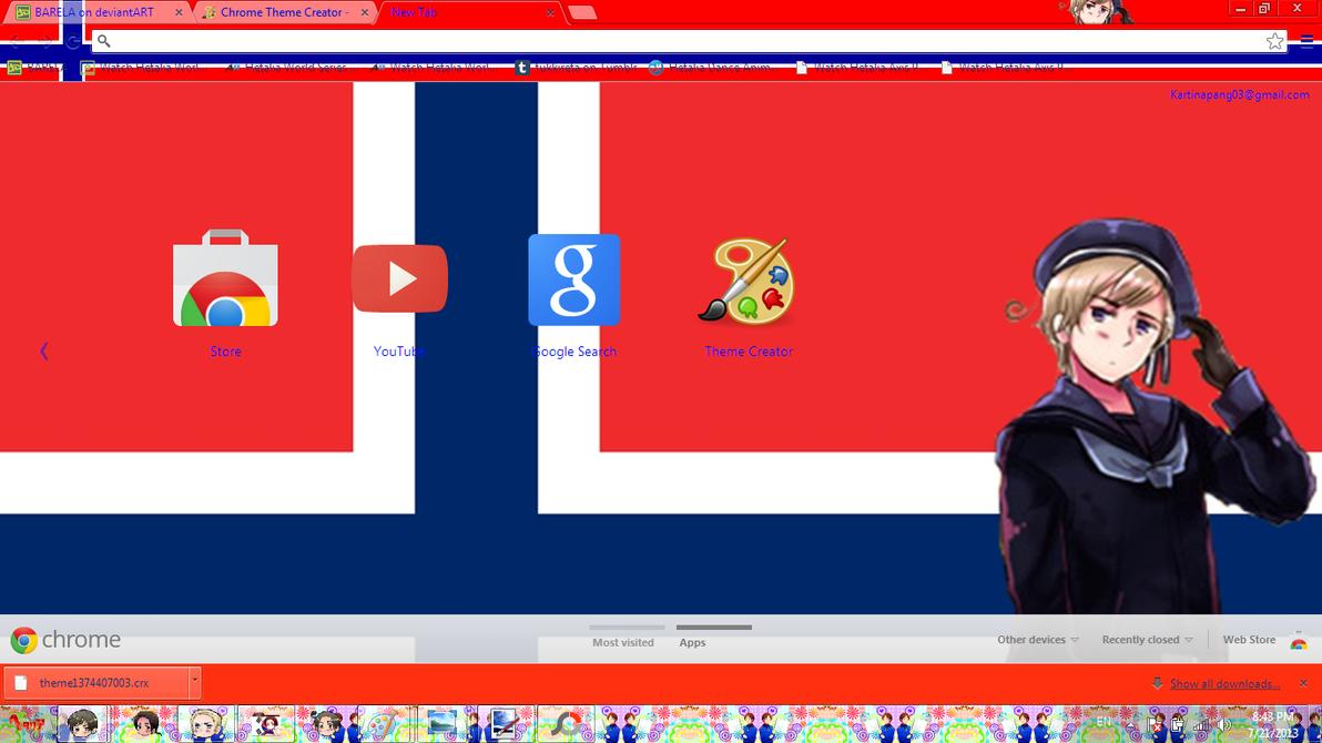 Gmail theme creator - Hetalia Norway Chrome Theme By Barela