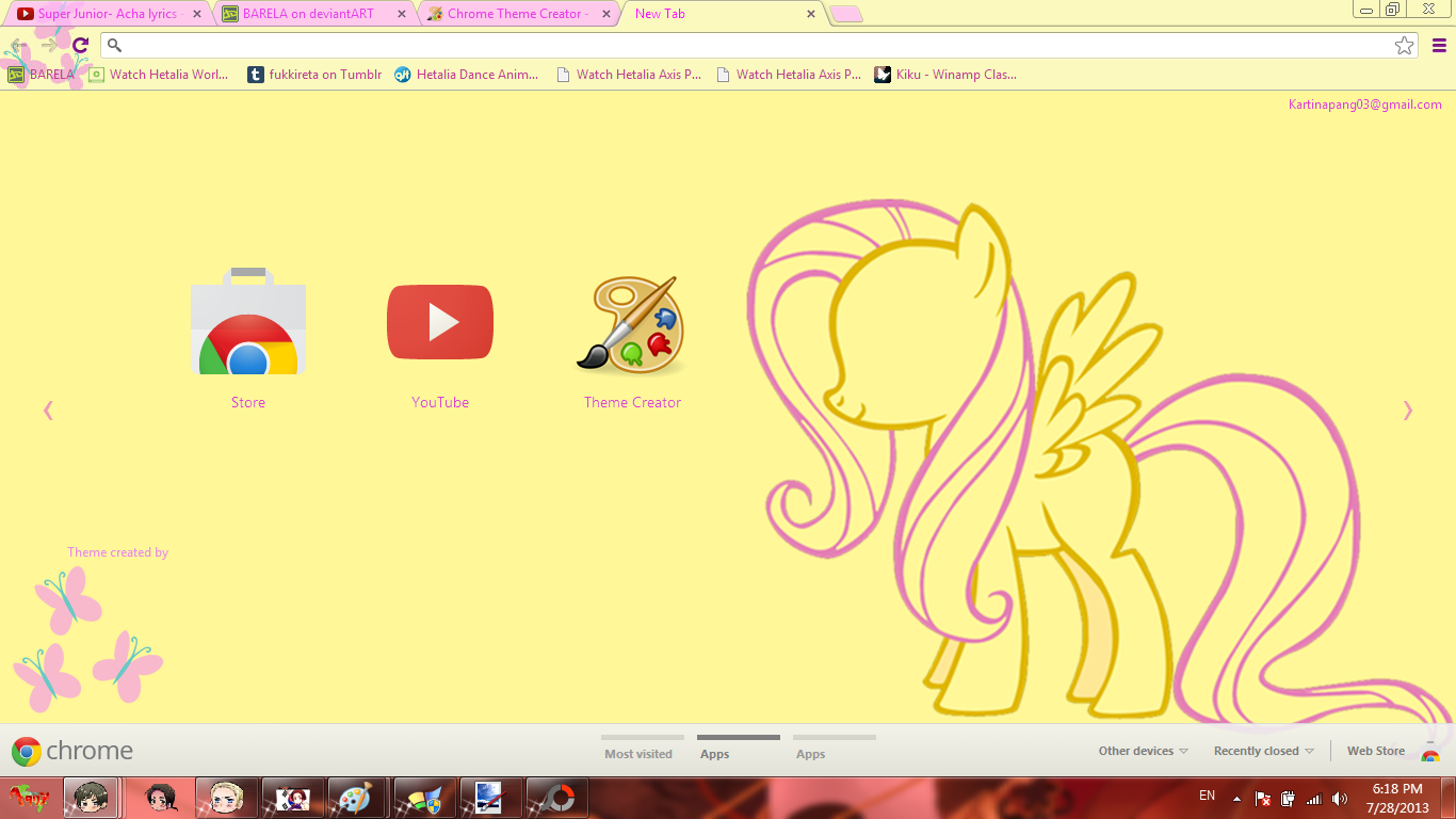 Gmail theme creator -  Mlp Fluttershy Chrome Theme By Barela