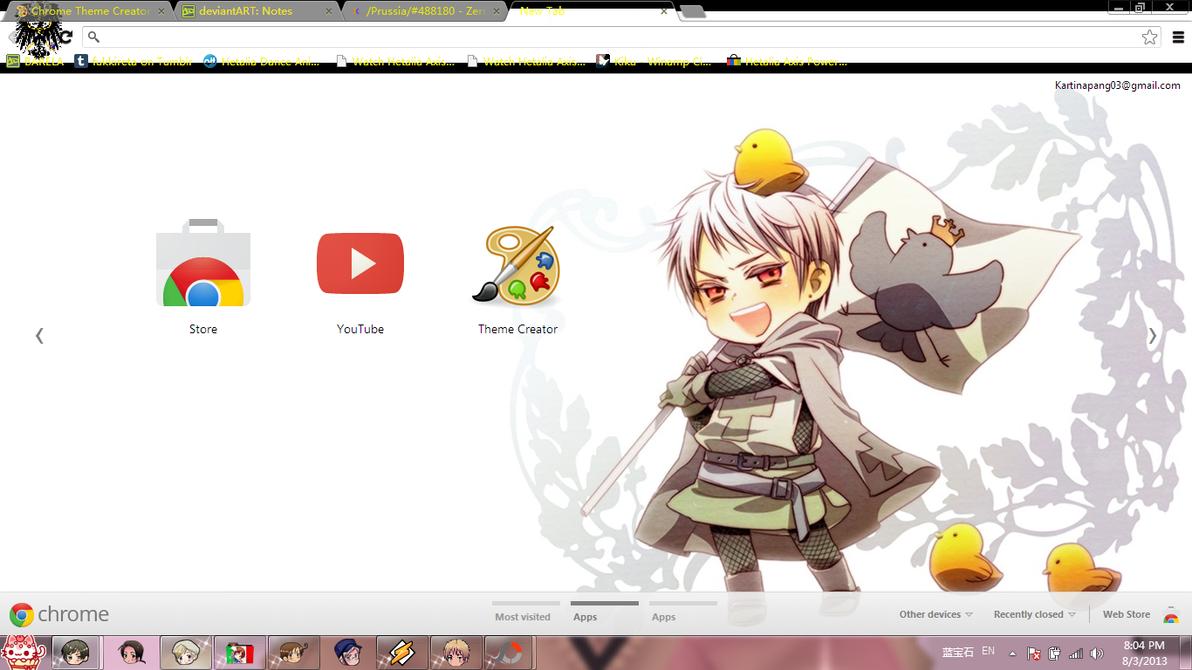 Gmail theme creator - Hetalia Prussia Chrome Theme By Barela
