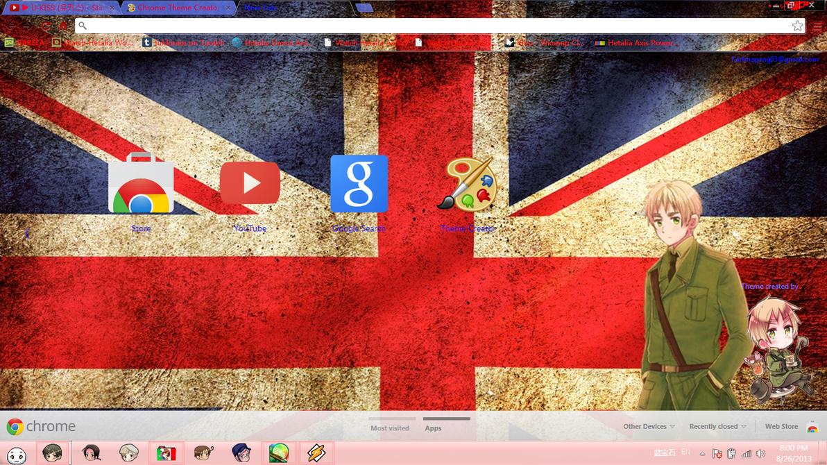 Google themes yaoi - Hetalia England Chrome Theme By Barela