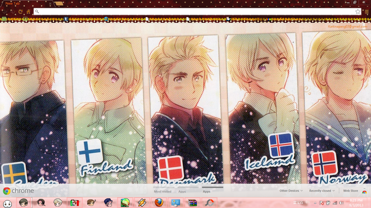 Google themes yaoi - Hetalia Nordics Chrome Theme By Barela