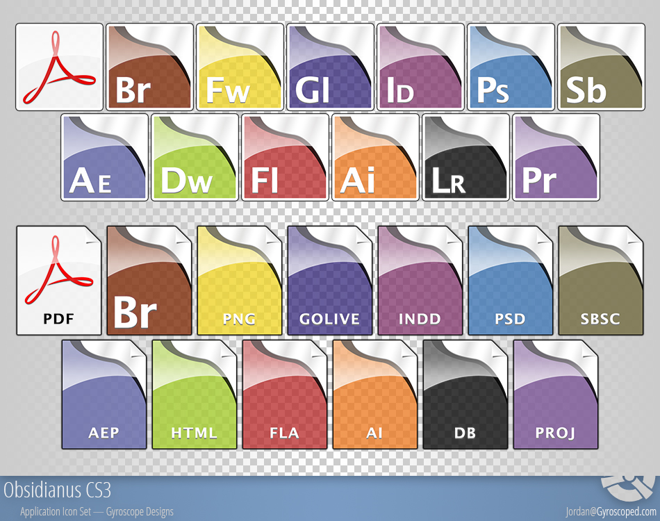 Obsidianus - Adobe CS3 Icons by r3dlink13