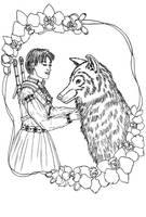 FREE Witcheress and Wolf Coloring Page by szynszyla-stokrotka