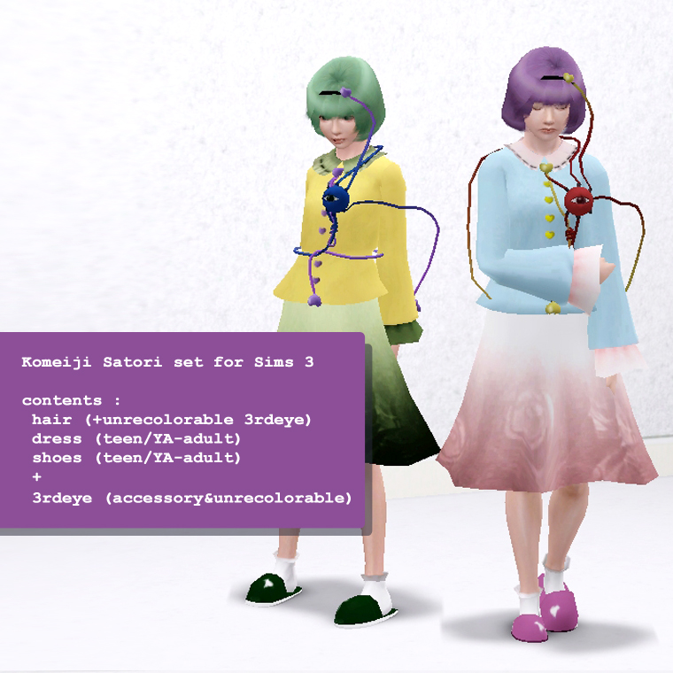 Sims Touhou] Komeiji Satori skin for Sims 3 by PRBBang on