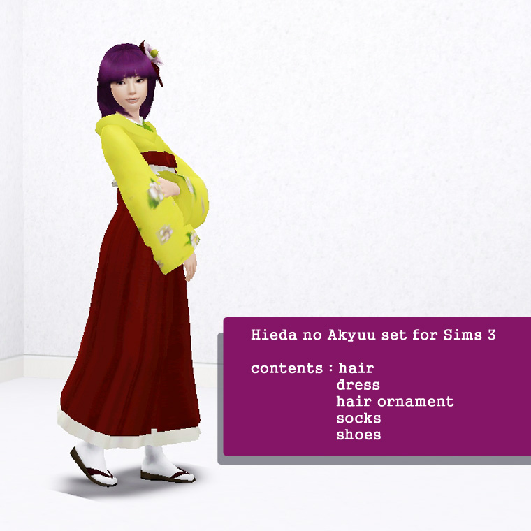 [Sims Touhou] Hieda no Akyuu skin for Sims 3