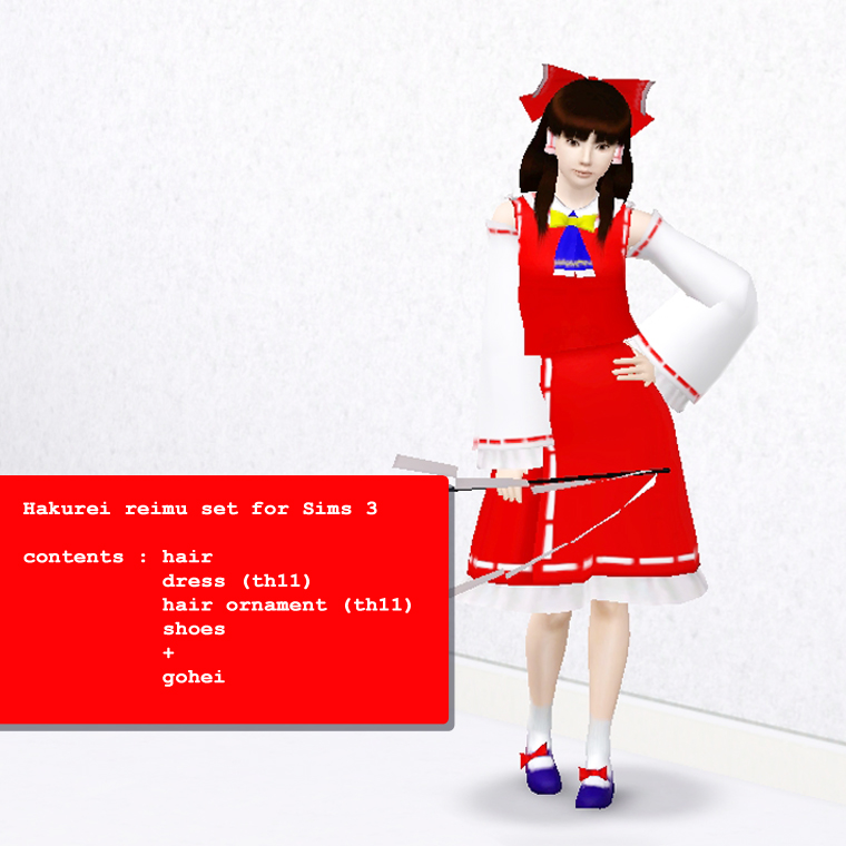Sims Touhou] Hakurei Reimu skin for Sims 3 by PRBBang on