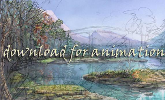 watery landscape sketch wip