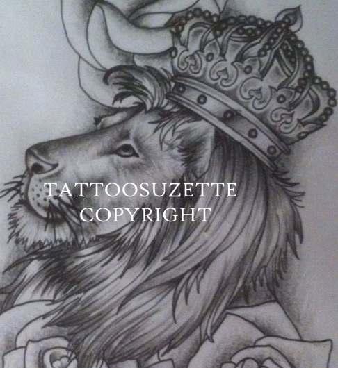 fb6e1439ce29e Lion with crown tattoo design by tattoosuzette on DeviantArt