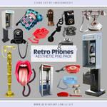 Retro Phones Aesthetic PNG Pack