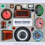 Neon Clocks Aesthetic PNG Pack