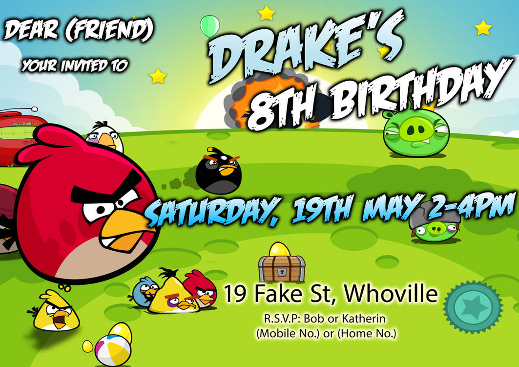 Angry Birds Birthday Invitation By Samsimpson11 On DeviantArt