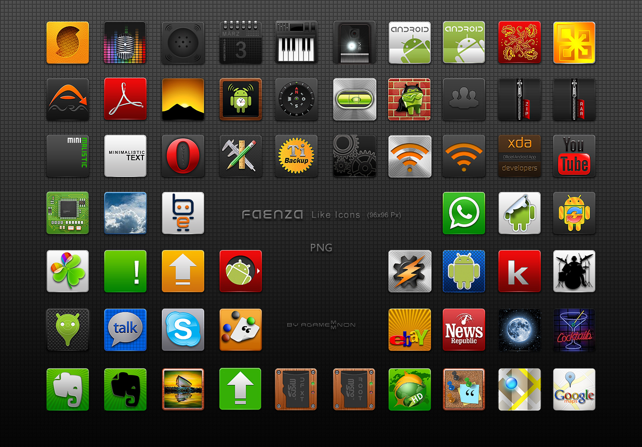 Faenza like Icons 96x96 Px PNG