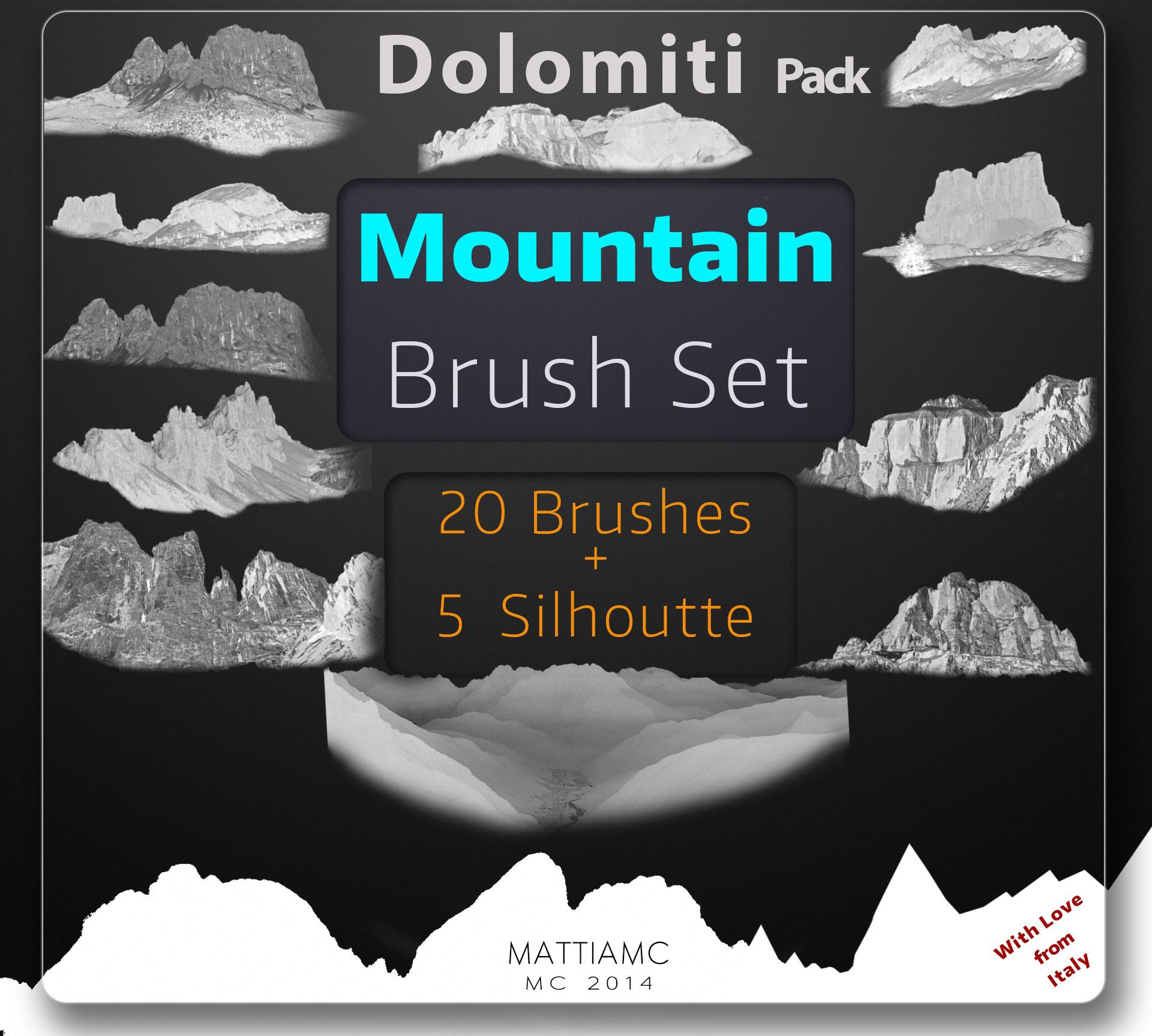Mountain Brush Set Pack - Dolomiti 25 Brushes