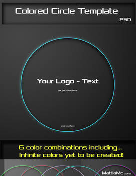 Colored Cirle Template PSD Put your Text