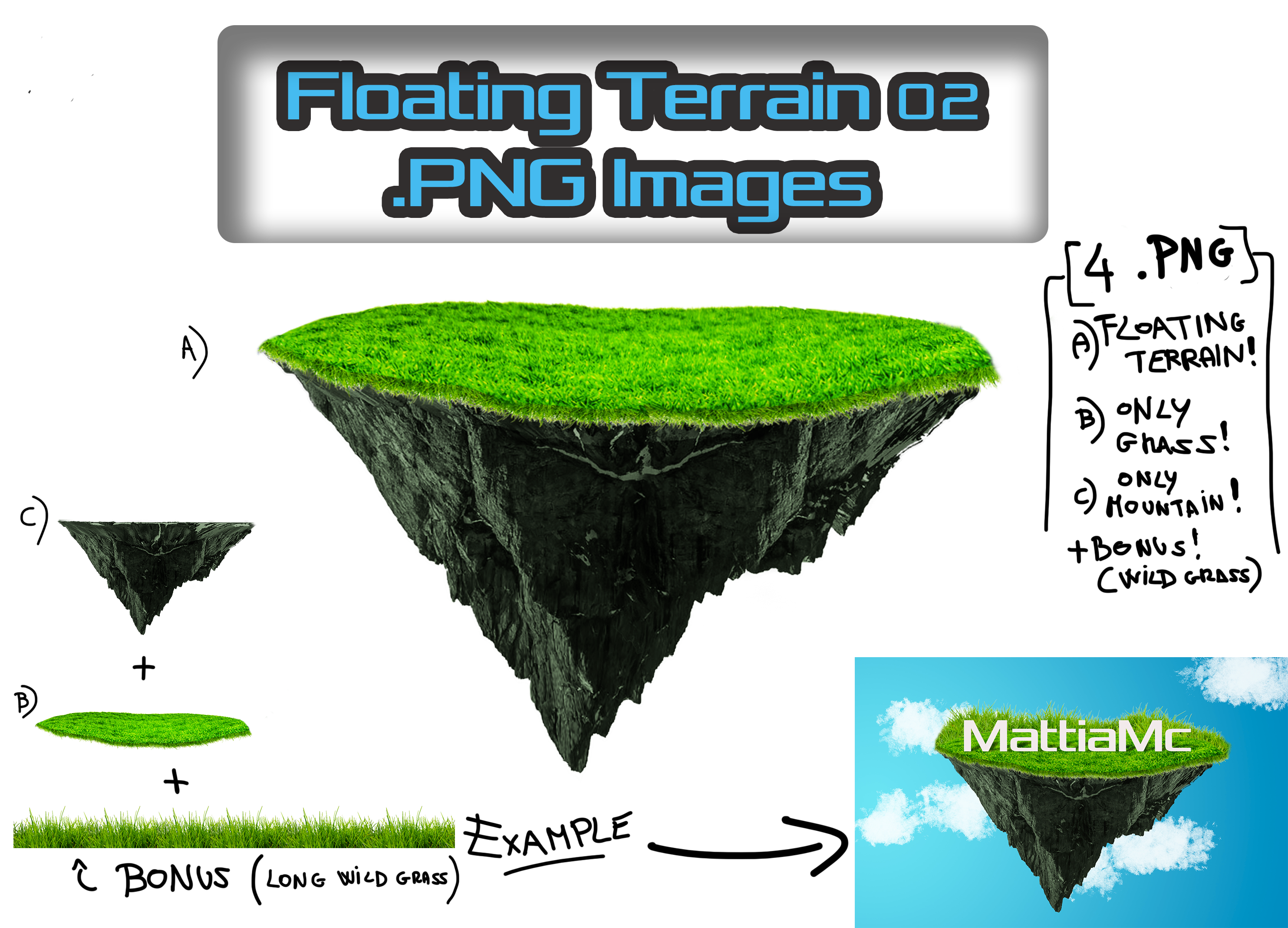 Floating Terrain Mountain 02  PNG + Bonus