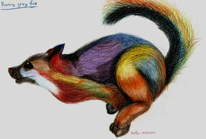 Running Grey Fox That's not-so-gray by FunStorytimeStudios