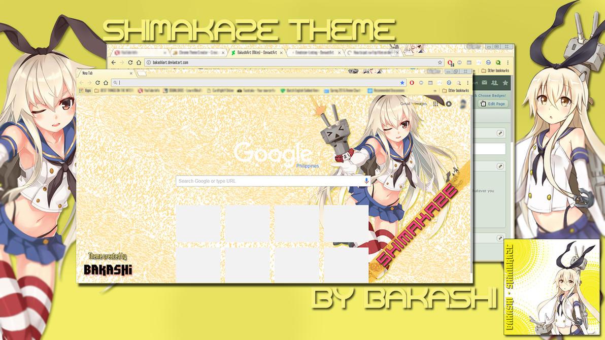 Google chrome themes yellow - Kancolle Shimakaze Google Chrome Theme By Bakashiart