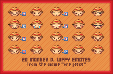 Monkey D. Luffy Emoticons by White-Nuts