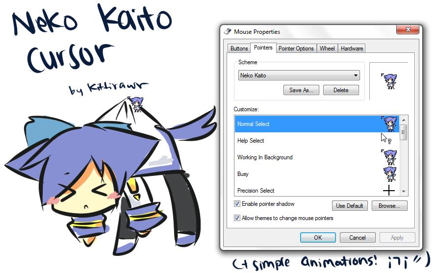 Neko Kaito Cursor by KittiRawr