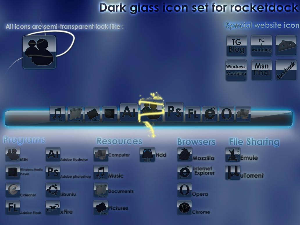 icon dark glass for rocketdock by Cronodesign on DeviantArt
