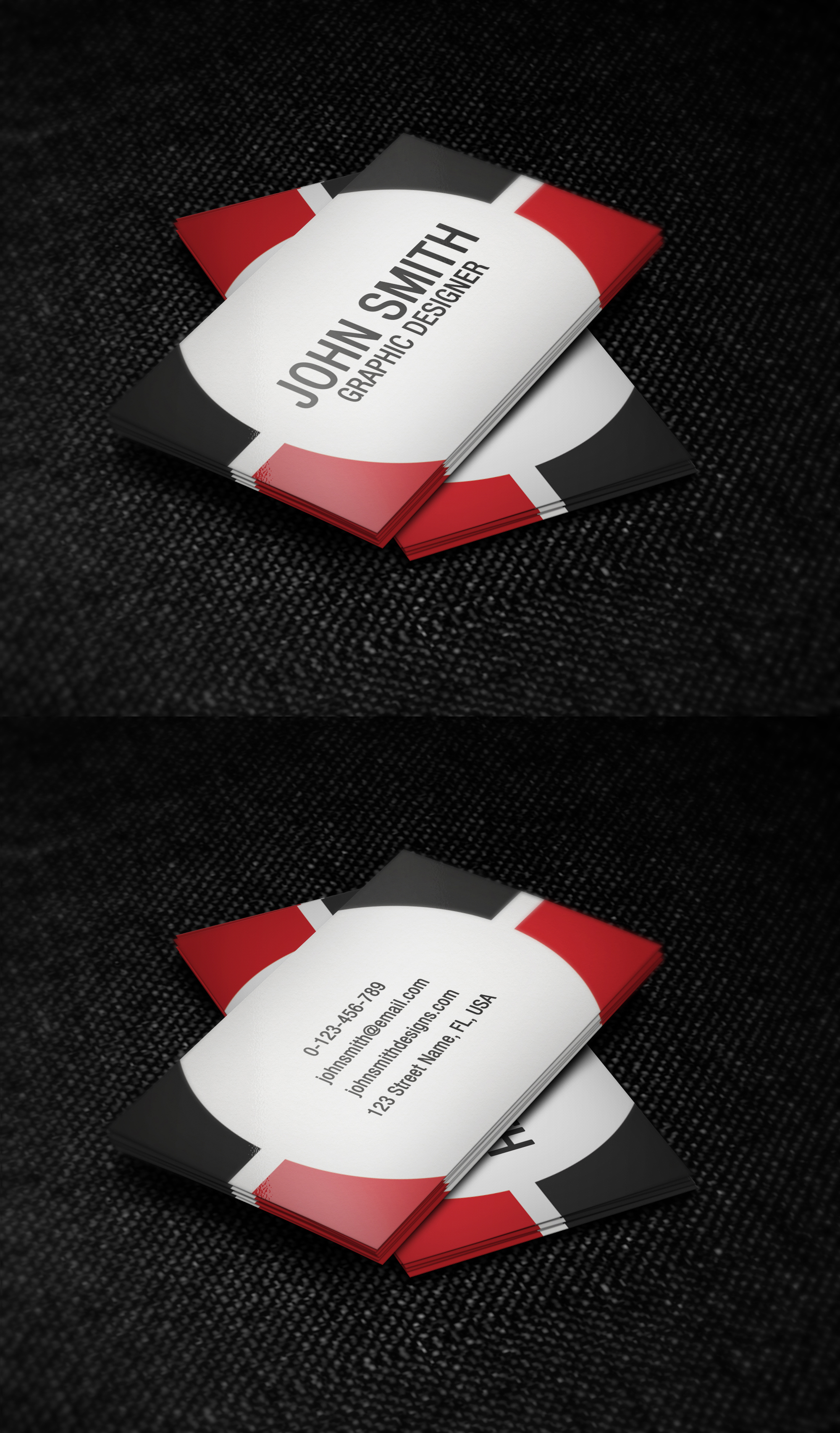 Red black and white business card template by nik1010 on for Black and white business card design