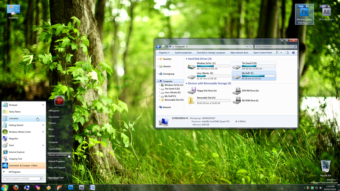 Windows 7 full layered PSD file