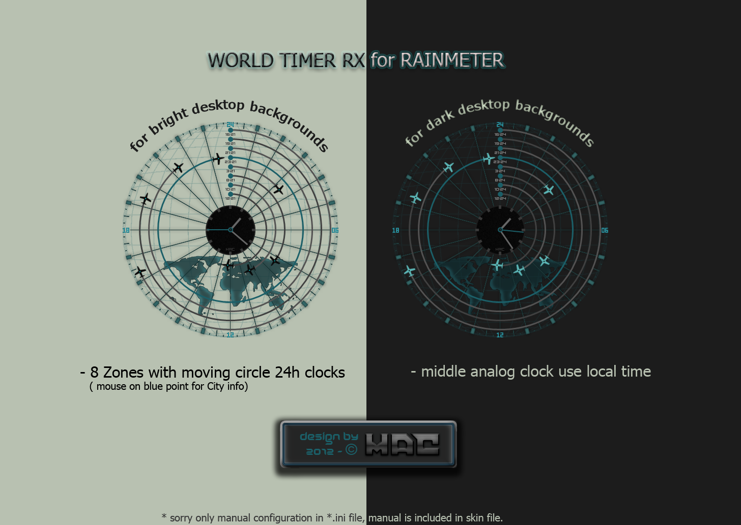 World Timer RX Radar (Rainmeter) by d4fmac
