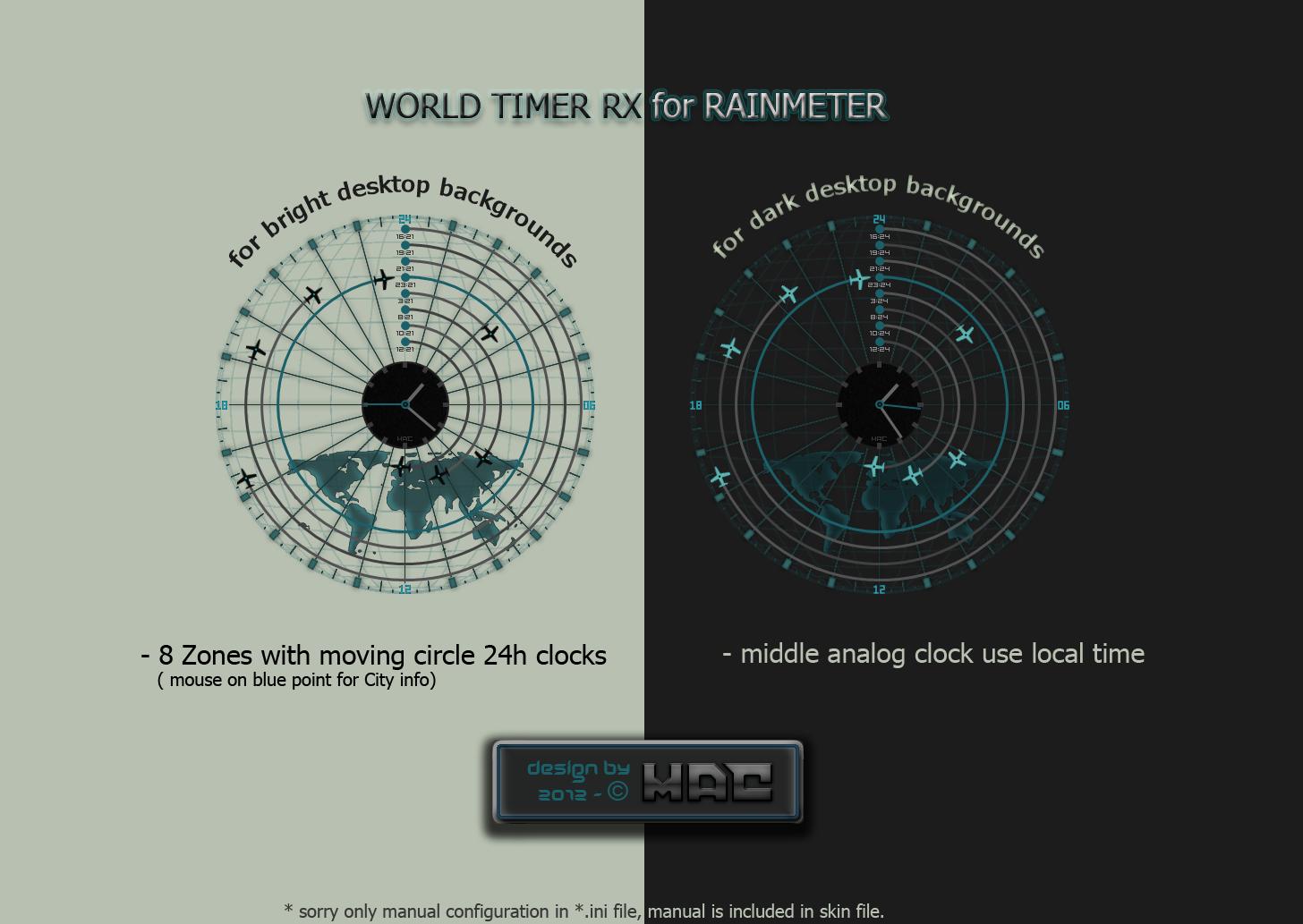 World Timer RX Radar (Rainmeter) by d4fmac