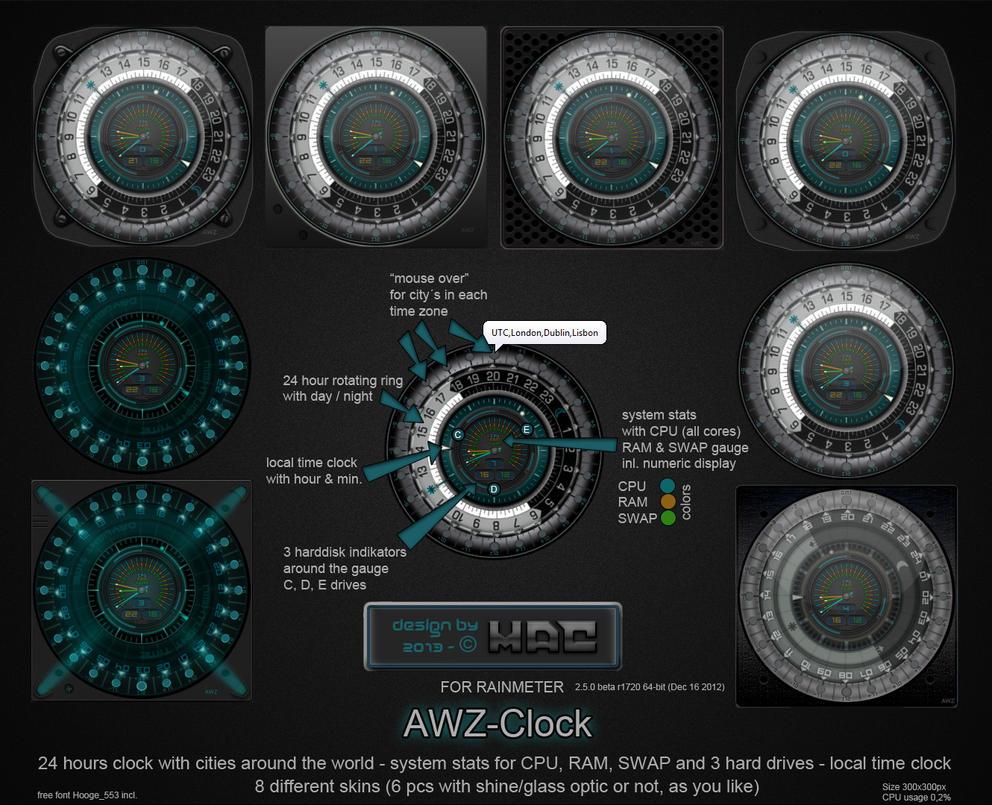 Awz Clock For Rainmeter By D4fmac On Deviantart