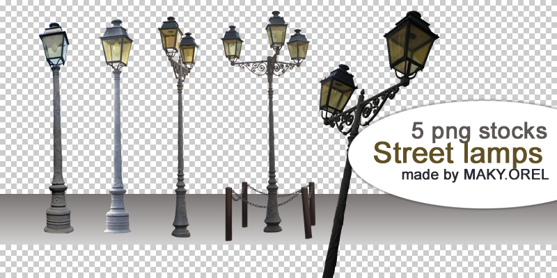 PNG STOCK SET: Street lamps by MAKY-OREL