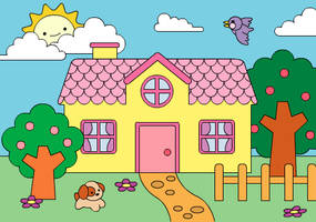Coloring Book: Cute House