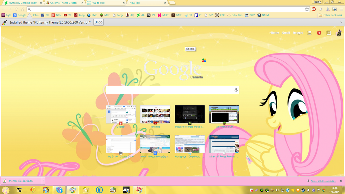 Google themes original - Original Fluttershy Theme 1600x900 By Xxzombloxxorxx