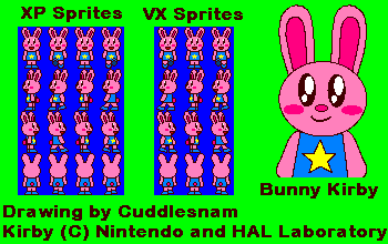 Bunny Kirby Sprites Packs on RPG Maker XP and VX by cuddlesnam on