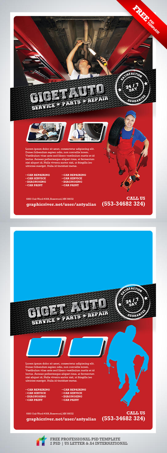 FREE GiGET Auto Service Flyer PSD Template by antyalias