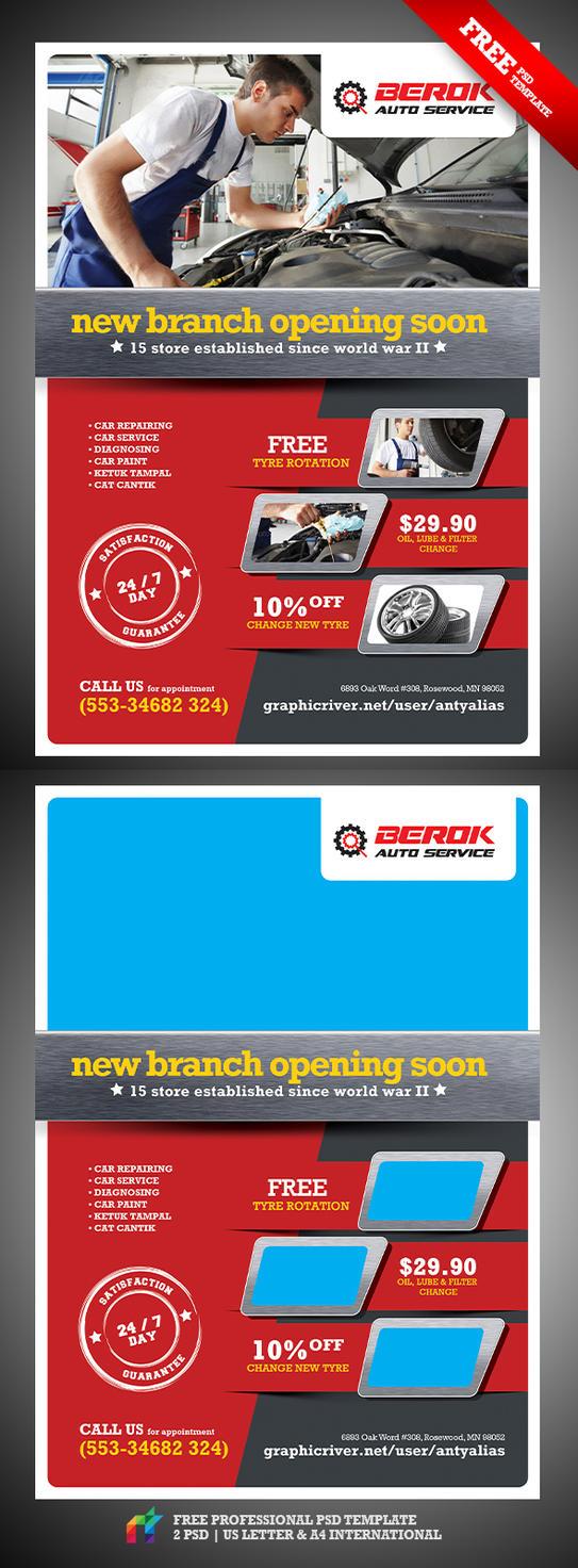 FREE Berok Auto Service Flyer PSD Template by antyalias