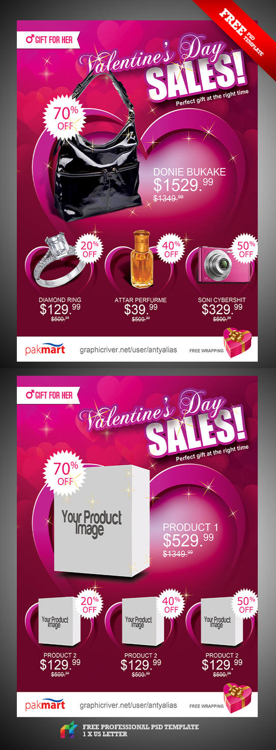 FREE Valentine Day Sale Flyer Ad by antyalias