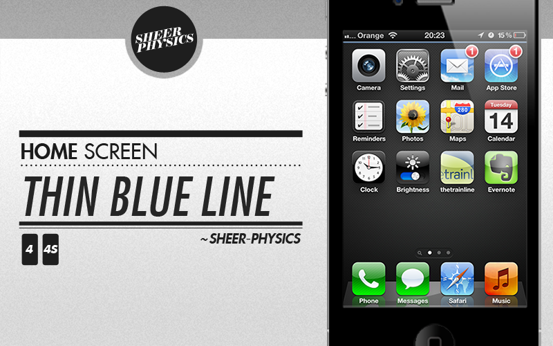 Iphone 4s home screen wallpaper thin blue line by sheer for Wallpaper home iphone 4s
