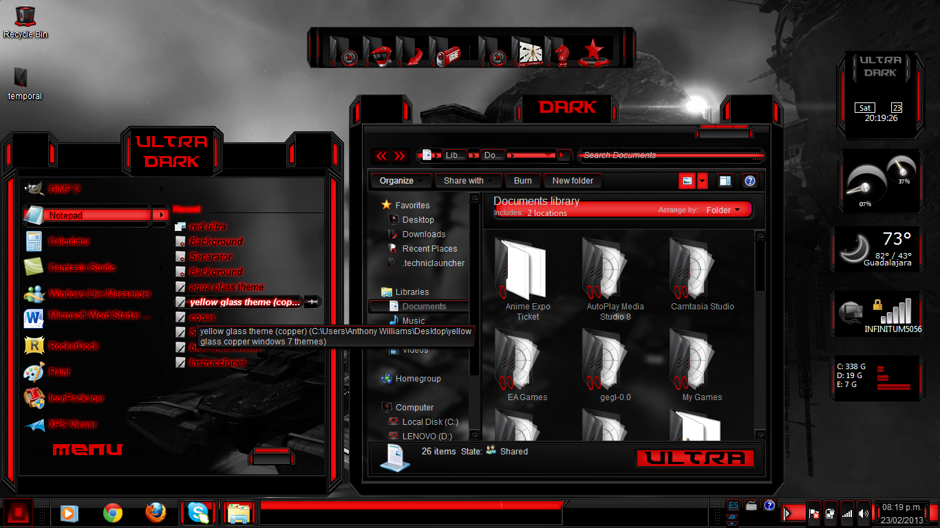 Alienware red windows 10 theme.