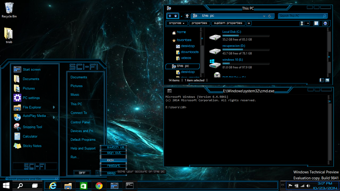 Windows 10 theme technical preview sci fi by newthemes on deviantart