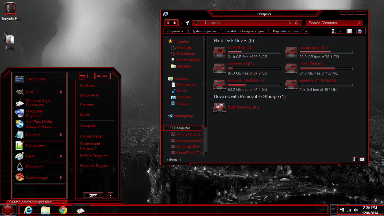 Windows 8 theme dark red sci fi by newthemes on deviantart for Window 07 themes