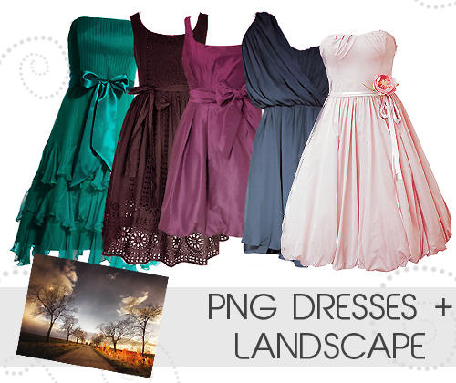 Png dresses + landscape by awesomeedits