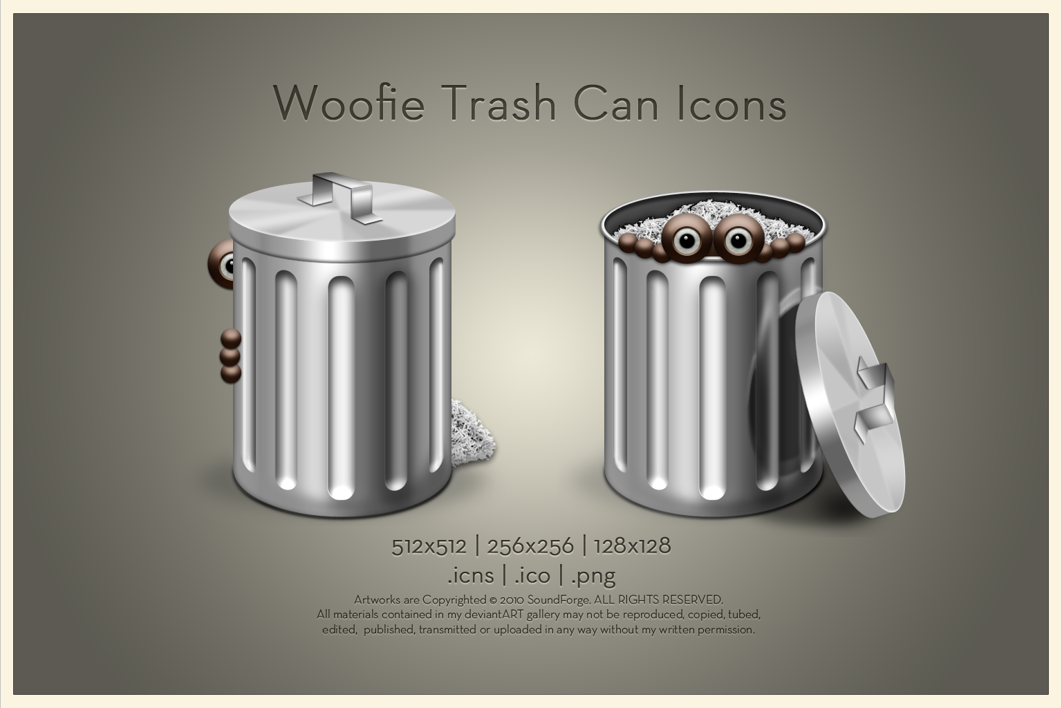 Woofie Trash Can Icon by SoundForge