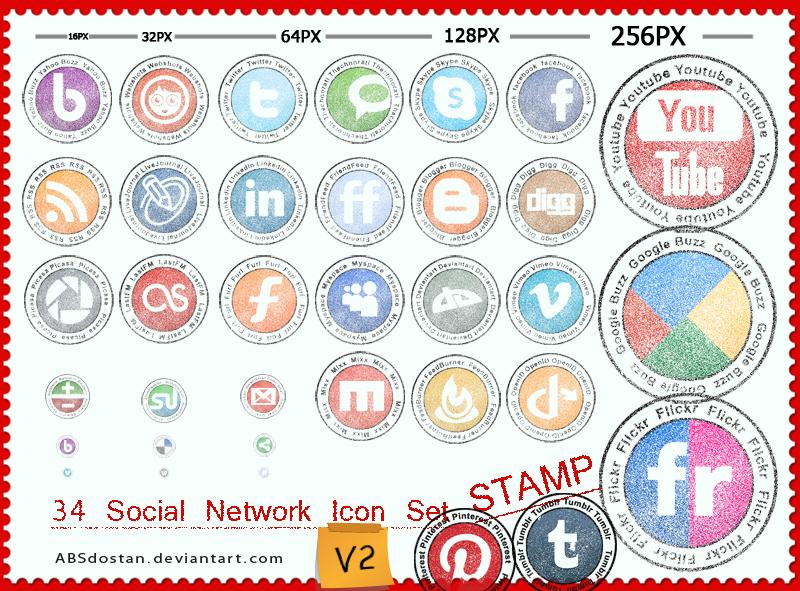 Free Stamp Social Network Icon - V2