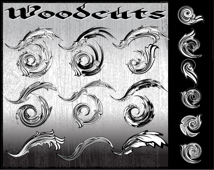 WOODCUTS: AI flourish pack