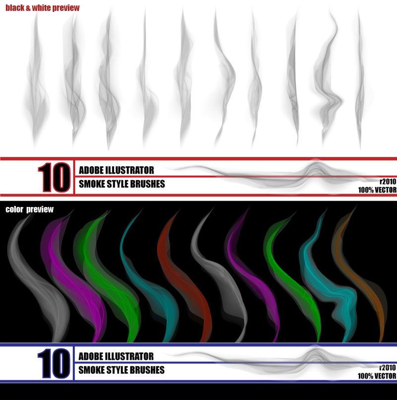 smoke - illustrator brush pack by r2010